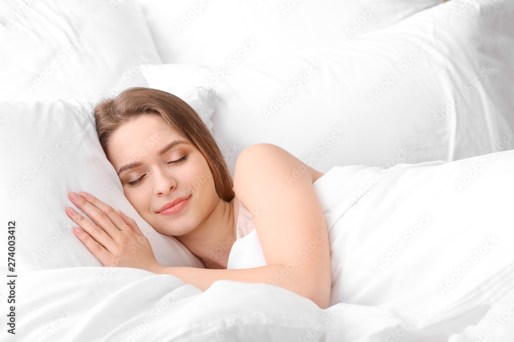 Fototapety, obrazy: Beautiful young woman sleeping in bed