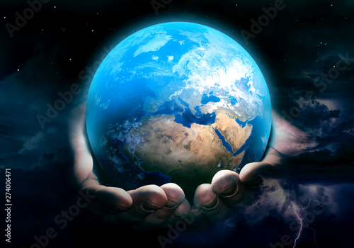 Earth in God's hands Wallpaper Mural