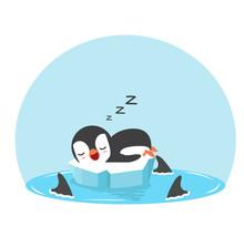Cute Penguin Sleep With Fin Sh...