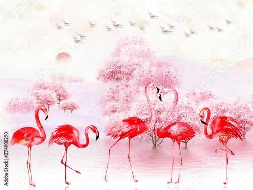 Naklejki Flamingi  naklejka-na-wymiar-pink-landscape-illustration-lake-trees-fog-sunrise-flock-of-birds-in-the-sky-five-bright-flamingos-in-the-foreground