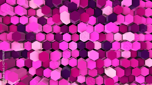 canvas print motiv - kokotewan : 3d render abstract colorful many technical geometric hexagons as a wave white and pink background. lights ray shine glow beam
