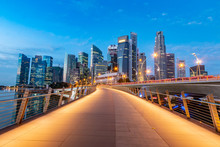 Beautiful And Modern Singapore City Walkway View