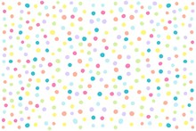 Abstract White Background With Multicolor Polka Dots. Raster Graphics.