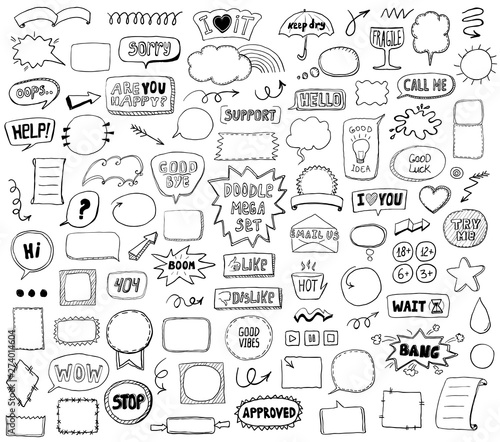 Graphic sketch elements set - doodle graphic line signs and symbols, speech bubbles, frames, phrases Wall mural