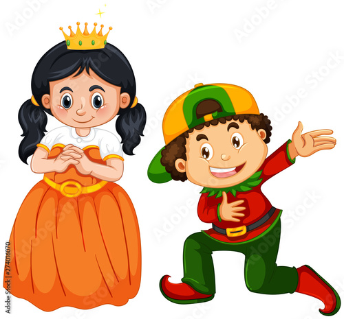 Fotobehang Kids Prince and princess costume on white background