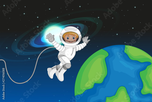 Fotobehang Kids An astronaut in the space