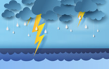 Illustration Of Seascape View With Black Cloud And Yellow Lighting On Blue Sky.Rainy Season In Sea With Storm Lightning,3D Paper Art And Craft Style. Vector Pastel Color Poster,web-site For Print.