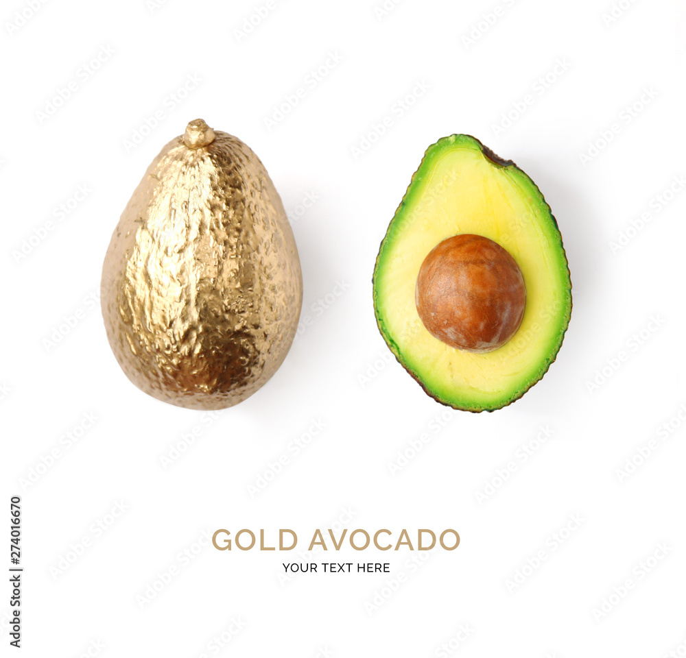 Fototapety, obrazy: Creative layout made of gold avocado.  Tropical flat lay. Food concept.