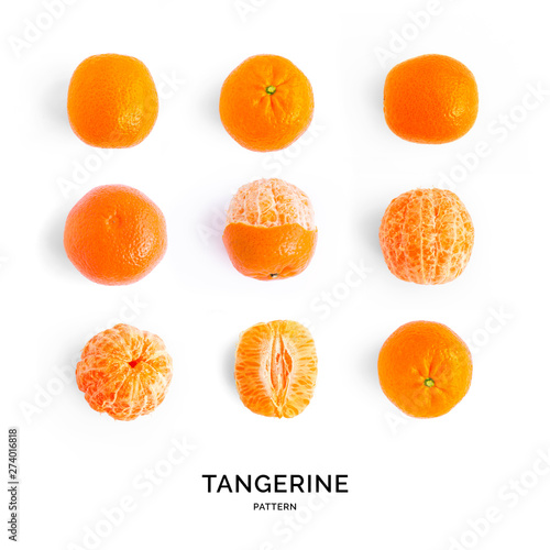 Seamless pattern with tangerine. Tropical abstract background. Tangerine on the white background. - 274016818