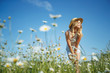 canvas print picture - Beautiful woman in the field with flowers.