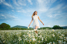 Beautiful Woman In The Field W...