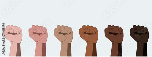 Fotografiet Human hands with clenched fist isolated on white background.