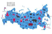 Russia Cartoon Travel Vector Map Isolated, Landmark Kremlin Palace, Moscow, Russian Symbols, Matryoshka, Samovar, Balalaika, Felt Boots, Wild Animals, Decorative Poster Flat Style For Design Tourism