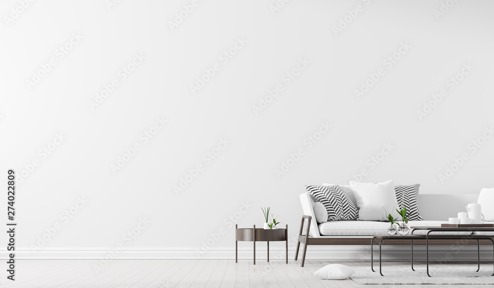 Fototapety, obrazy: Scandinavian style interior with sofa and coffe table. Empty wall mock up in minimalist interior. 3D illustration.