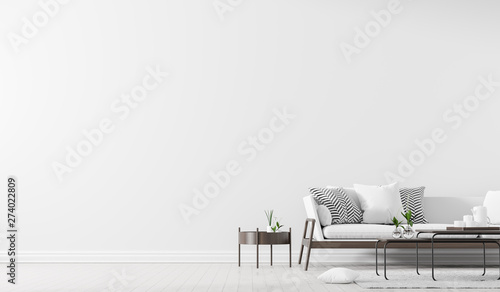 Fototapeta Scandinavian style interior with sofa and coffe table. Empty wall mock up in minimalist interior. 3D illustration. obraz