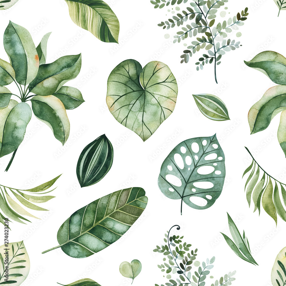 Fototapety, obrazy: Watercolor Tropical seamless texture.Pattern with green leaves,branches,palm leaf.Perfect for wedding,wallpaper,print,packaging and cover design and your unique creation.