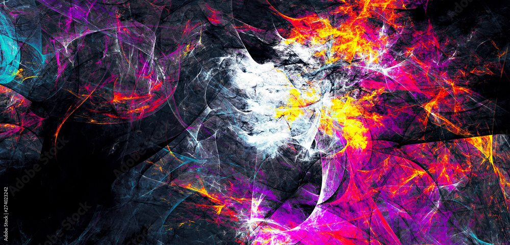 Fototapeta Bright artistic splashes. Abstract painting color texture. Modern futuristic pattern. Multicolor dynamic background. Fractal artwork for creative graphic design