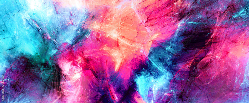 Fototapety, obrazy: Bright artistic splashes. Abstract painting color texture. Modern futuristic pattern. Multicolor dynamic background. Fractal artwork for creative graphic design