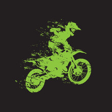 Motocross Race, Rider On Motor...