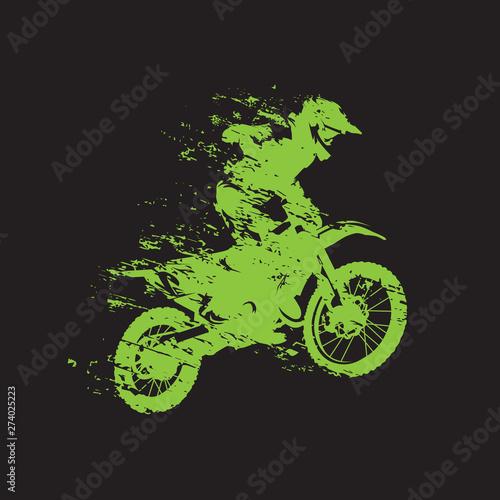 Motocross race, rider on motorbike, isolated vector illustration Wall mural