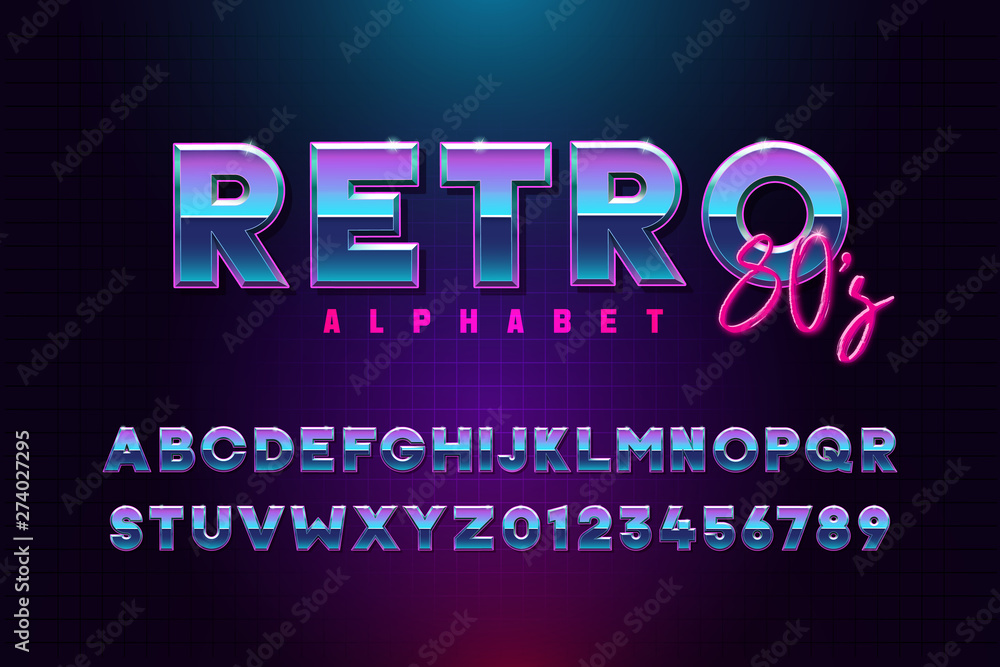Fototapeta Retro font effect based on the 80s. Vector design 3d text elements based on retrowave, synthwave graphic styles. Mettalic alphabet typeface in different blue and purple colors - obraz na płótnie