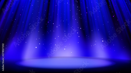 Empty blue scene with dark background, place lit by soft spotlight, shiny sparkling particles Poster Mural XXL