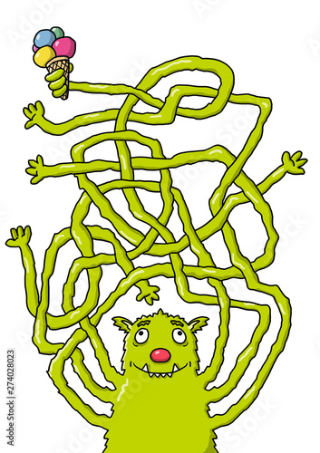 Fotografía  Rätselbild Labyrinth – Monster mit Eis