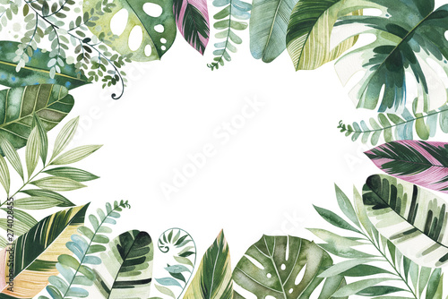 Wall Murals Floral Watercolor Tropical Forest set.Greeting card with multicolored leaves,branches,palm leaf..Perfect for wedding,invitations,quotes,logos,Birthday cards,bridal shower,print and your unique creation.