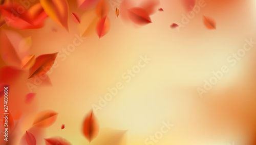 Fall background with blurred flying red leaves, autumn nature vector design Poster Mural XXL