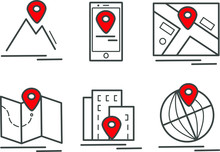 You Are Here Icon Set: Navigation And Map Line Icons Vector Icons - Red And Grey Icon Here And Home Gps  Geolocation, Transportation, Tourism.