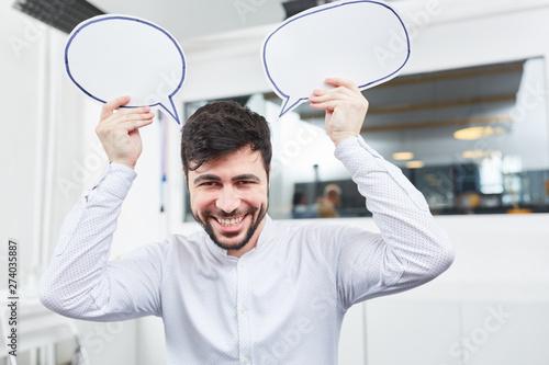 Obraz Founder with creativity speech bubbles - fototapety do salonu