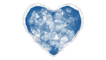 Abstract Polygonal Blue Heart. The Love Of Technology. Points, Lines. Isolated On White Background. 3D Render