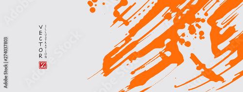 Orange ink brush stroke on white background. Japanese style.