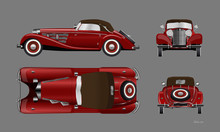 Red Retro Car On Gray Background. Vintage Cabriolet In Realistic Style. Front, Side, Top And Back View. Industrial Isolated Blueprint. 3d Automobile