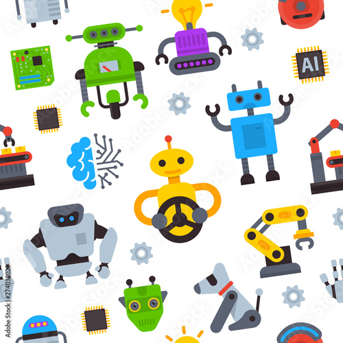 Photo  Robot icons vector set logo robotic machine technology robocop cartoon character AI artificial Intelligence robotechnic illustration isolated on white background