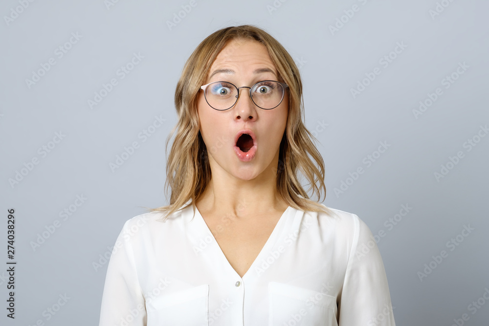 Fototapety, obrazy: Image of excited young woman isolated