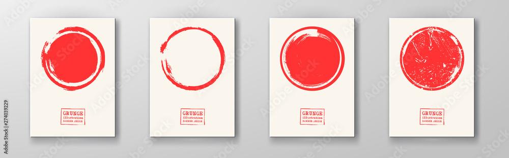 Fototapety, obrazy: Big red grunge circle on white backgrounds set.