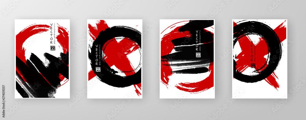 Fototapeta vector black red ink brush stroke