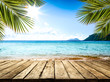 canvas print picture - desk of free space and summer beach landscape