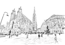St. Stephen's Cathedral. Vienna, Austria. Hand Drawn Sketch Vector Illustration.
