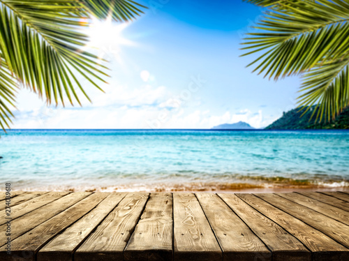 desk of free space and summer beach landscape  - 274039618