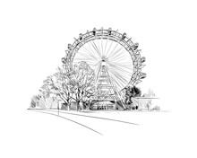 Prater Park. Ferris Wheel. Vienna, Austria. Hand Drawn Sketch Vector Illustration.