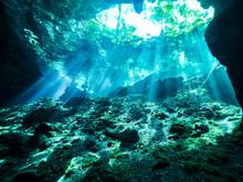 Cenote Scuba Diving, Underwater Cave In Mexico