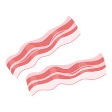 Raw Bacon Slices Flat Vector Illustration