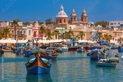 Poster de jardin Europe Méditérranéenne Taditional eyed boats Luzzu in Marsaxlokk, Malta