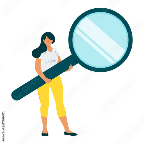 Fotografiet Woman holding magnifying glass flat vector character