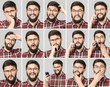 Set of handsome man with different emotions and gestures