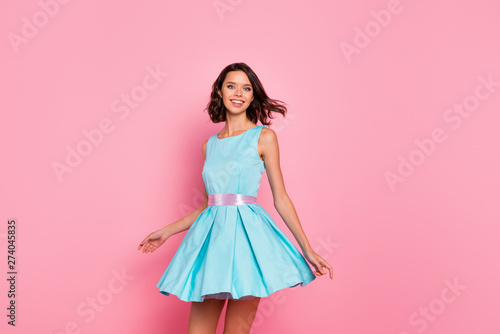 Close up photo beautiful amazing she her dancing prom queen lady wind flight blow air skirt graduation party toothy wear cute shiny colorful dress isolated pink bright vivid vibrant background