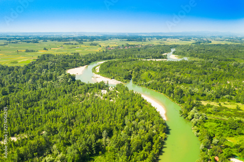 Canvas Prints Forest river Beautiful landscape on Drava river in Medjimurje, Croatia, from air, panoramic view