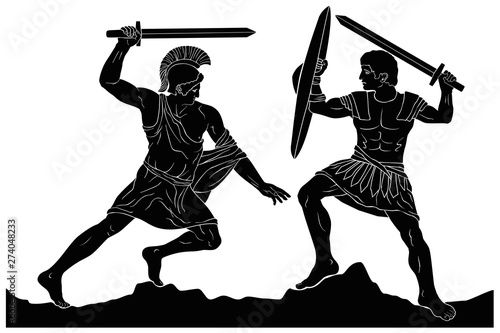 Canvas Print Two mythological heroes, Achilles and Hector, fight with swords